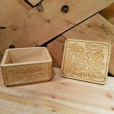 Carved Light Wood Trinket Box Jewelry Box with Bird & Plant Motif - Swanky Barn