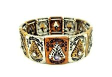 Multi-Color Etched Tribal Arrowhead Stretch Bracelet With Crystal Rhinestones