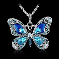 New Blue Crystal butterfly Pendant Necklace Long Sweater Chain Fashion Jewelry