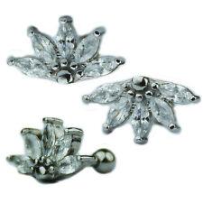 Halb Blüte Ohr Helix Tragus Piercing glitzer Stecker große Kristalle Silber