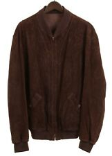 Bally Made in ITALY Chocolate Suede Leather REVERSIBLE Bomber Jacket 44