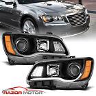 For 2011-2014 Chrysler 300 Black Halogen Projector Headlights w/ LED Bar Signal  for sale