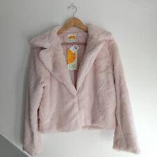 C&C CALIFORNIA Faux Fur Light Pink Cropped Jacket Women's Size M NWT