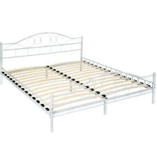 Double metal bed frame king size modern luxury 180x200cm white + slatted frame
