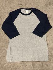 Gildan - Heavy Cotton Three-Quarter Raglan Sleeve Baseball T-Shirt  Navy Sleeves