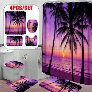 3D Seaside Coco Tree Purple Shower Curtain Mat Toilet Lid Cover Bathroom Rugs