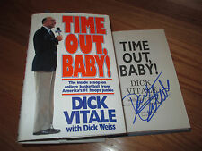 HOFer DICK VITALE signed TIME OUT BABY! 1991 Hard Cover Book NCAA Finals ESPN