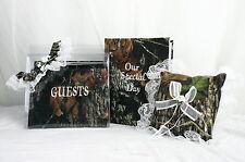 Mossy Oak camo wedding set w/guestbook, photo album, garter, pillow w/white lace