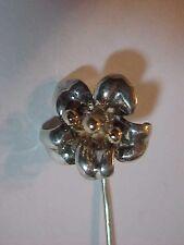 Solid Sterling Silver  open Flower Designer Stick Pin  3 dimensional