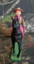 Vtg Celluloid Toy Cowboy On Horse String Arms Made In Japan