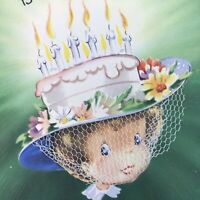 Vintage Mid Century Birthday Greeting Card Unused Pretty Lady Cake Candles Hat