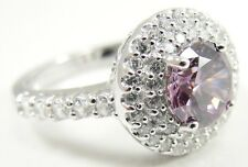 Sterling Silver Purple Clear CZ Engagement Ring Pave Set Double Halo Size 7