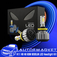 80W 8000LM H11 H8 H9 LED Headlight Bulbs Pair 6000K White Light HID Replacement