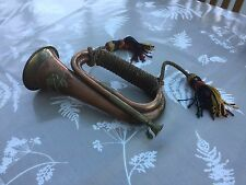 VINTAGE WW2 BRASS AND COPPER BUGLE With TASSELS And CROSSED SWORDS EMBLEM