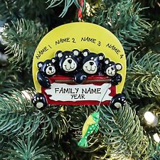 Black Bear Fishing Family of 4 Personalized Christmas Tree Ornament Rudolph&Me