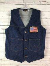 Vtg WRANGLER DENIM VEST MEN'S M JEAN  BUTTON WESTERN UNLINED EUC