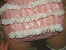 PLASTIC SEXY SISSY PINK  TRIPLE FRILL PVC  PANTIES KNICKERS  SIZE S
