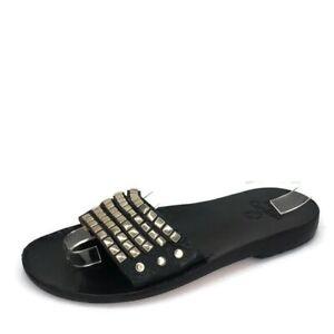 Calleen Cordero Black Leather Silver Studded Mule Slide Sandal Womens SZ 7.5