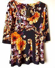 Eva Varro Floral Print Banded Tunic- LG 3/4 sleeve
