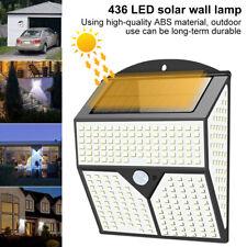 436 LED Solar Wall Lights Outdoor PIR Motion Sensor Lamp Waterproof Garden
