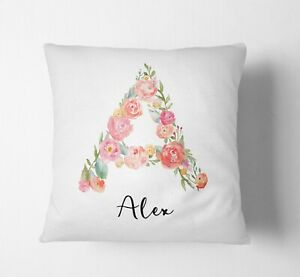 Personalised Alphabet Floral Name Initial Letter Cushion Pillow Case Insert Fill