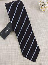 BNWT Hugo Boss Black with White Blue Diagonal Stripe 100% Silk Tie