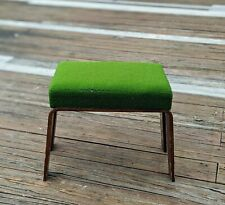 Mid Century Modern Wooden Rectangle Ottoman Green Fabric Foot Stool MCM Decor