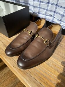 Gucci Jordaan Leather Loafers Brown/Size:10.5 US