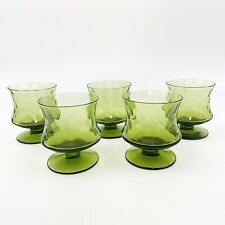 Vtg Lot Of 5 Avocado Green Mini Drink Glasses Goblet Footed Mid Century