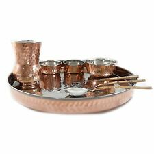 Classic Indian Traditional 8 Piece Copper Tableware Dinner Set Collection Thali