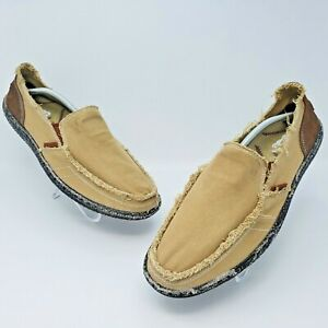 Classic Mens Canvas Two Tone Brown Deck Slip On Shoes Size US 11