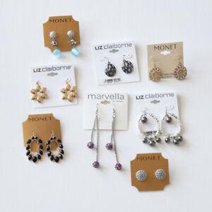 Lot of Monet Liz Claiborne & Marvella Costume Jewelry Pierced Earrings New