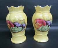 PAIR OF AYNSLEY ORCHARD GOLD 5 INCH VASES - MINT CONDITION - BLUE BASE STAMP