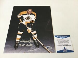 HOF Willie O'Ree Signed Autographed 8x10 Photo Boston Bruins Beckett BAS COA d