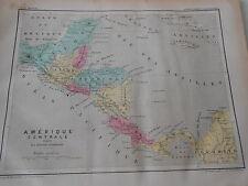 Carte Map couleur de l'Amérique Centrale 1877