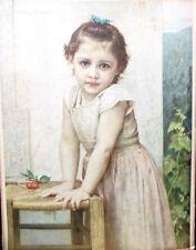 """VINTAGE EARLY ART PRINT OF """"YVONNE"""" by W. BOVGVEREAV 1896 Framed Girl w/Cherries"""