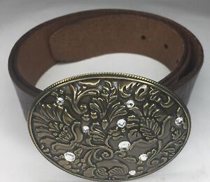 Women's Brown Leather Belt  By Fossil w/Rhinestone Floral Bronze  Buckle Size M