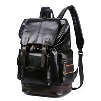 Vintage Men's Soft Leather Travel Backpack Laptop Casual Bag Waterproof Satchel