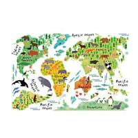Colorful Animal World Map Sticker Kids Home Decor DIY Room Wall Art Poster N#S7