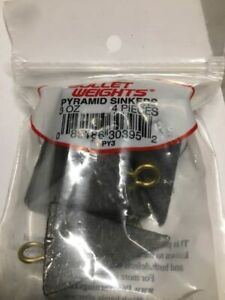 BULLET WEIGHTS 3oz PYRAMID SINKER SIZE 4-COUNT PACKAGE