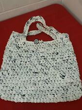 Woven PLASTIC BAG Tote Handbag Purse - Made Plastic Bags- Amazing  Black/white