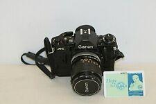 Canon A-1 Camera 35mm w/ Data Back + Shoulder Strap + FD 35mm 1:2 SSC Lens
