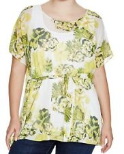 NWT LYSSE Women's Plus Size 20 White Multi-coloured Floral Sheer Tunic Top