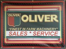 Oliver Tractor Dealer Replica Sign Marquee Neon Style Printed Banner Art 4' X 3'