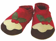 Daisy Roots Christmas Pudding Shoes Soft Leather (size 6-12 Months)
