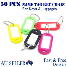 50pcs Mix Colours Plastic Key Ring Tags Name Tag Keyring Keychain Luggage Tags