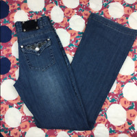 Cache Womens Jeans Blue Flap Back Bootcut Denim Med Dark Distressed Wash Size 2