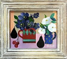 Mary Fedden style framed original oil still life painting signed A.White