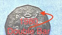 🇦🇺1980 AUSTRALIAN 50 CENT DOUBLE BAR ERROR COIN/VARIETY VERY SCARCE📮FREE POST