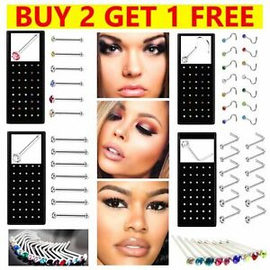 Box Set Nose Studs I L Screw Shape Surgical Steel Silver Gold Ring Hoop Piercing